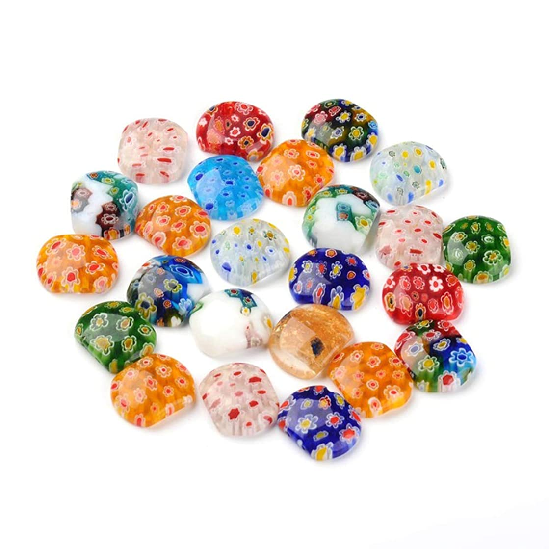 ARRICRAFT 100g Rectangle Handmade Millefiori Glass Multi-Strand Links Mixed Color Flower Beads for Bacelets, About 28pcs/100g