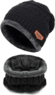 Aruny Winter Hat Hat and Scarf Sets for Men & Women Outdoor Sports Knit Skull Cap Hat Beanie