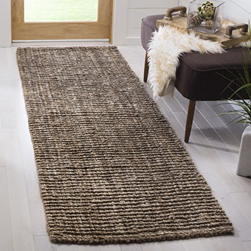 Safavieh Natural Fiber Collection NF447M Hand Woven Natural and Grey Jute Runner (2'6' x 6')