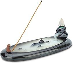ComSaf Incense Stick Holder Ceramic Black 7 Inch, Backflow Incense Burner for Cone Stick, Ceramic Ash Catcher Decorative T...