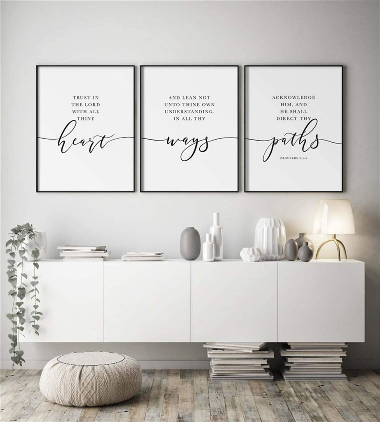 NATVVA 3 Pieces Black White Wall Art Canvas Painting Trust in The Lord Quote Posters Prints Bible Verse Quote Wall Pictures for Christian Room Decor Framed Ready to Hang