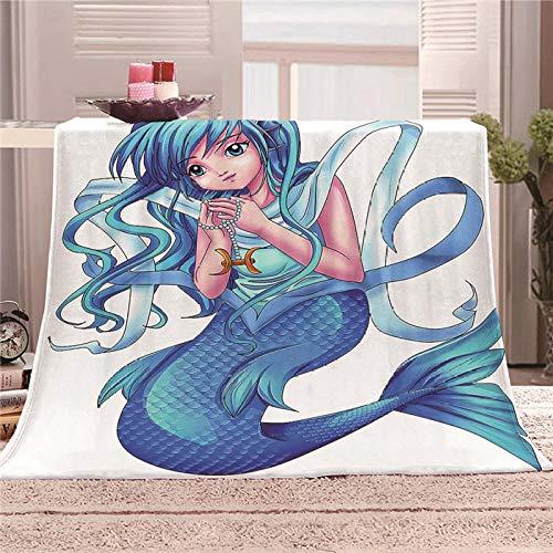 QHDHGR Manta Franela cálida para sofá Cama Anime y Sirena Ropa de Cama Manta de Franela de Felpa súper Suave y Protectora 180cm * 200cm