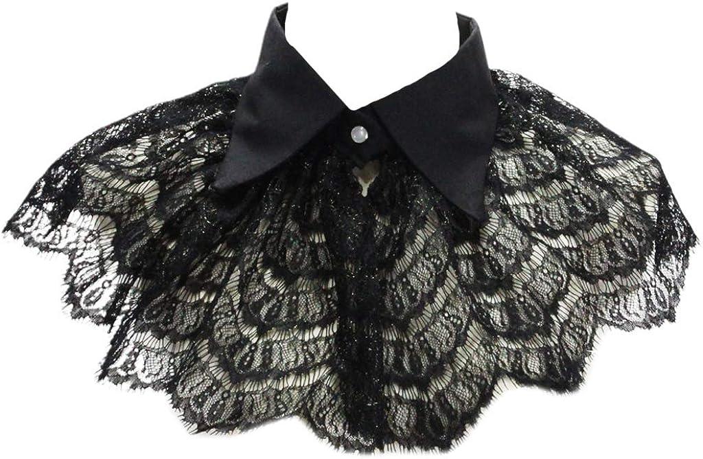 YOUSIKE Neck Chain, Women Girls Vintage Black Crochet Floral Lace Fake Collar Pointed Lapel Detachable Half Shirt Shawl Sweet Doll Scalloped Trim Decorative Choker