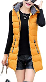 Macondoo Womens Hoodie Down Jacket Sleeveless Zip Up Warm Parkas Coat Quilted Vest