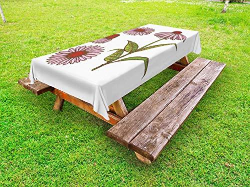 ABAKUHAUS Apotheker Outdoor-Tischdecke, Sonnenhut Kräuter, dekorative waschbare Picknick-Tischdecke, 145 x 265 cm, Mehrfarbig