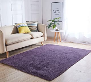 YOH Soft Polyester Fiber Rectangle Area Rugs Silky Smooth Fluffy Shaggy Rugs Grey Purple Rug for Living Room Bedroom Kids Room Nursery Home Decor Carpet 4 Feet by 5.3 Feet