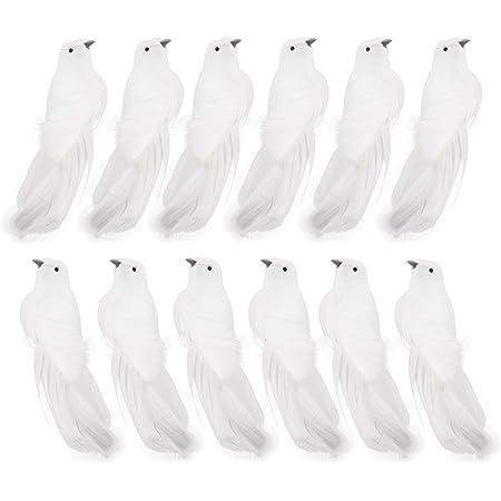 12 White Dove Ceramic Ornaments