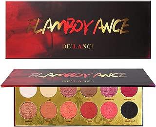 Red Eyeshadow Palette,DE'LANCI 6 Matte + 6 Shimmer Makeup Pallet - 12 Colors Highly Pigmented Matte Shimmer Long Lasting Eye Shadow Powder Makeup Kit (FLAMBOYANC)