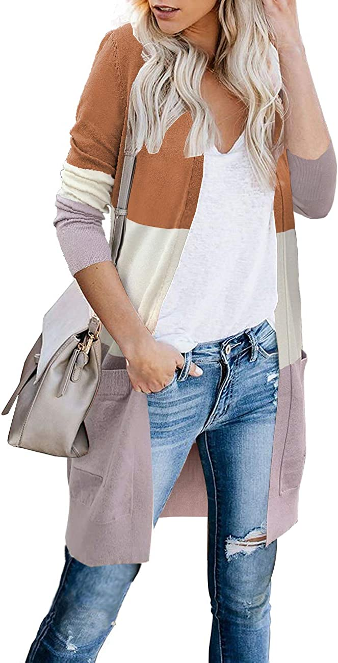 FOLUNSI Women Cardigans Sweaters for Women Open Front Long Knitted with Pockets