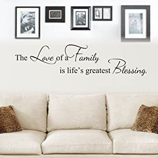 MoharWall The Love of A Family is Life's Greatest Blessing Wall Decals Quote Vinyl..