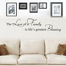 MoharWall The Love of A Family is Life's Greatest Blessing Wall Decals Quote Vinyl Art Lettering Picture Wall Sticker Living Room Bedroom Decoration