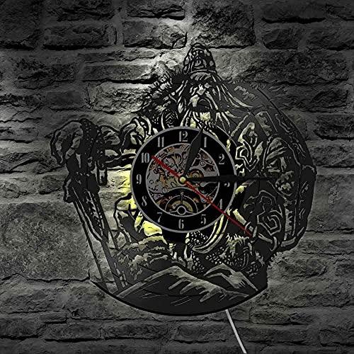 Reloj de pared de vinilo con luz LED de 7 colores, mitología escandinava, dios OdinViking Warrior con espada y escudo decorativo para pared, guerrero bárbaro