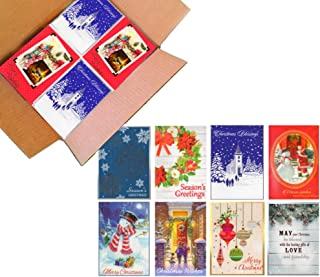 100 Wholesale Traditional Christmas Cards with Envelopes: Classic Holiday Designs, General Audience, on Recycled Paper (5x7 Traditional Assortment)