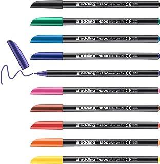 edding 1200 colour Pen Fine - Black Red Blue Green yellow orange brown violet Pink Light-Blue - Set of 10 bright colours -...