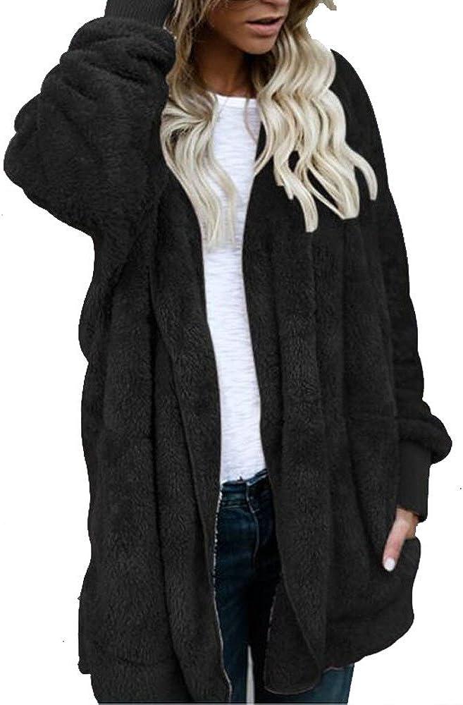 HGWXX7 Women Casual Knit Wool Hooded Long Fur Coat Jacket Hoodies Parka Outwear Cardigan