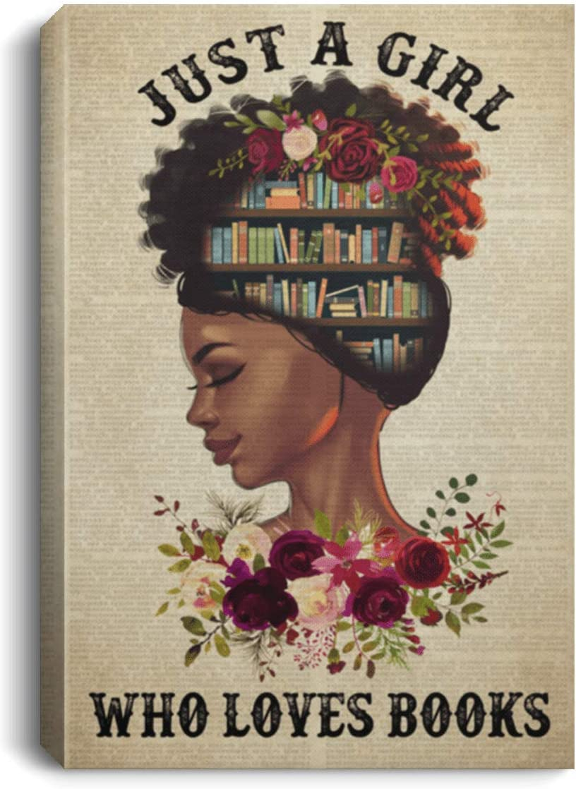 Just A New sales Girl Who Loves Books Ranking TOP1 U Black Reading - Canvas Framed