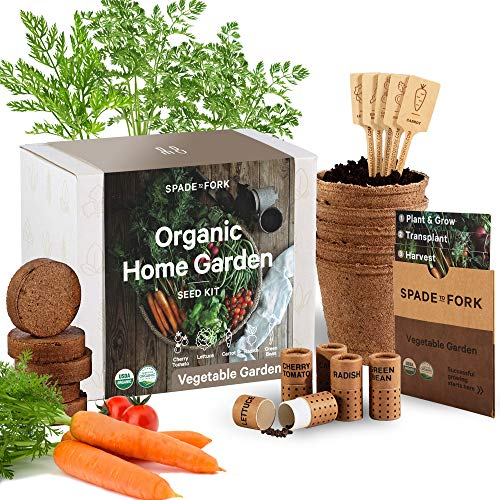 Indoor Vegetable Garden Starter Kit - Certified USDA Organic Non GMO - 5 Seed Types Cherry...