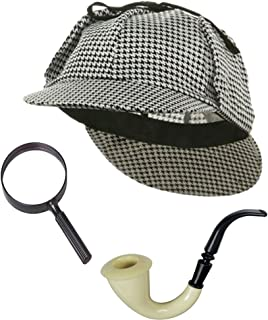 Sherlock Holmes Detective Bundle- Detective Hat Costume Pipe & Magnifying Glass Black and White