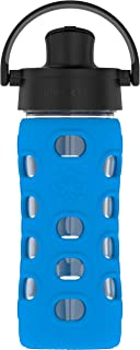 Lifefactory 12-Ounce BPA-Free Glass Water Bottle with Active Flip Cap and Protective Silicone Sleeve, Cobalt Blue
