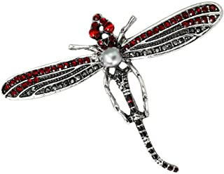 Crystal Rhinestone Dragonfly Damselfly Insect Brooch Imitation Pearls Pin | Color - Red