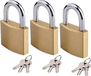 Keyed Alike Solid Brass Padlock 1-9/16-inch(40mm) Pin Tumbler Padlock Short Shackle with 3 Steel Keys 3pack