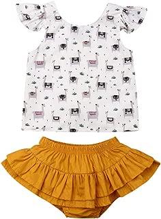 Karuedoo Baby Girl Summer Clothes Llama Print Sleeveless Cross Vest Tops Ruffled Shorts Pants 2pcs Outfits Set