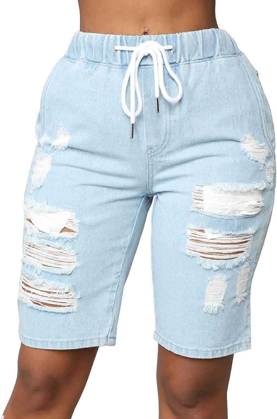 CHARTOU Women's Drawstring Waist Distressed Knee-Length Bermuda Denim Shorts