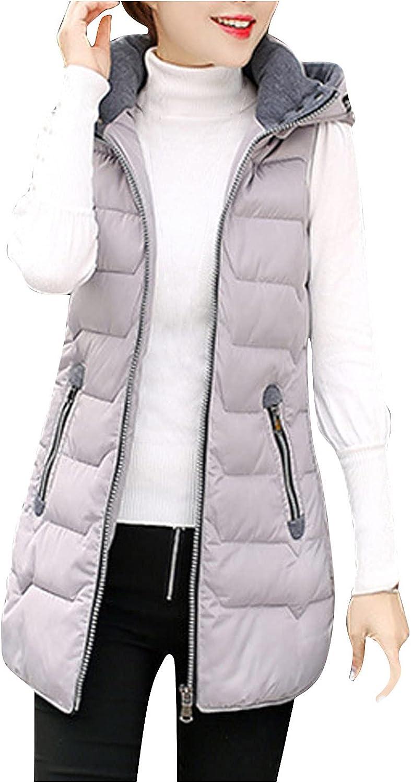 Women's Cotton Padded Hooded Vest Outwear Pocket Solid Ladies Warm Coat Long Padded Slim Jacket