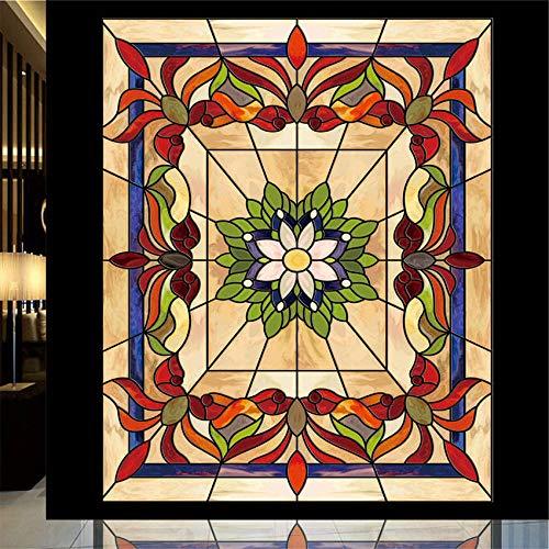 KUNHAN raamsticker Lotus bloem statische vastklampen kerk glas in lood raamfolie voor balkon schuifdeur kast meubelfilm 40x80cm