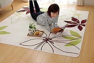イケヒコ ラグ カーペット 3畳 洗える 花柄 リーフ柄 『WSパキラIT』 グリーン 約200×250cm (ホットカーペット対応) ♯9810259