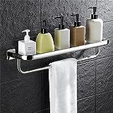 Estante de baño Estante de cristal del cuarto de baño de una sola capa del acero inoxidable con el carril de toalla, suspensión multifuncional del cuarto de baño montado en la pared ducha de esquina