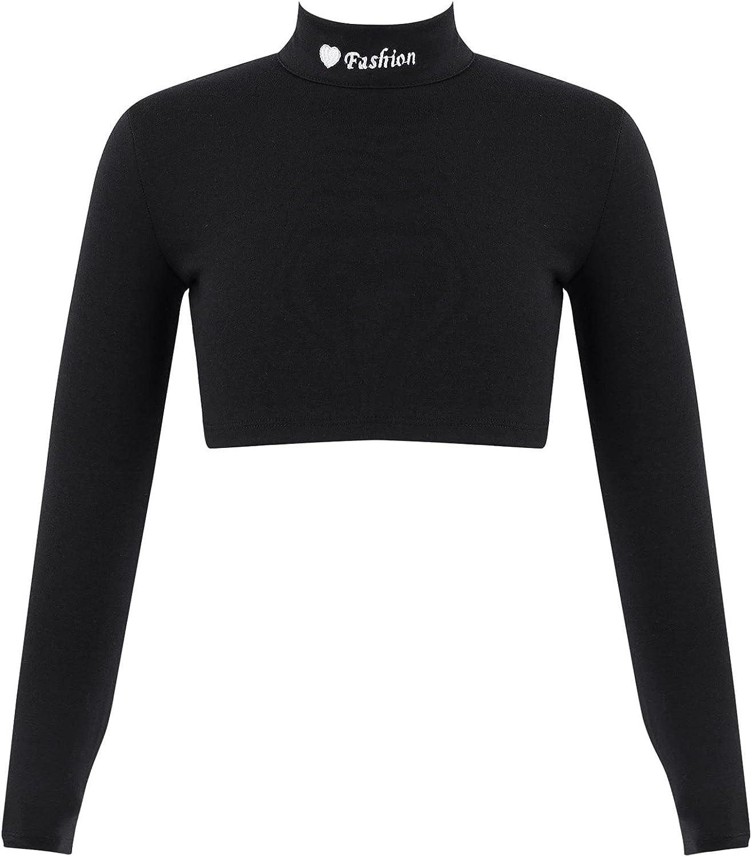 Huimingda Children Girls Athletic T-Shirt Long Sleeve Turtleneck Crop Top Gymnastic Athletic Yoga Sports
