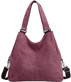 PB-SOAR Damen Vintage Canvas Tasche Schultertasche Handtasche Umhängetasche Shopper Hobo Bag Beuteltasche 38x34x13cm B x H x T Weinrot
