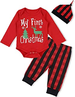 Baby Christmas Outfit Newborn Boys Girls My First Christmas Deer&Tree Snowflake Romper Top Plaid Pants 3Pcs Xmas Clothes Sets