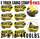 8 Pack Ratchet Straps Strap 2' x 16' E Track Heavy-Duty Cargo Tie Downs 4400LBS