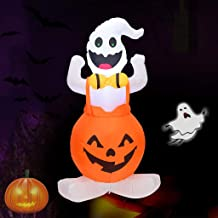 Shan-S 4 ft Halloween 1.2 M Inflatable Blow Up Ghost on Pumpkin, Upgraded Skeleton Ghost on Inflatable with Gradient LED Lights for Halloween Decorations Outdoor Holiday Lawn