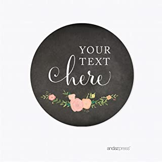 Andaz Press Chalkboard Floral Party Wedding Collection, Round Circle Label Stickers, Personalized Your Text Here, 40-Pack, Custom Name, Baby Bridal Shower Birthday Baptism Anniversary Decor Decoration