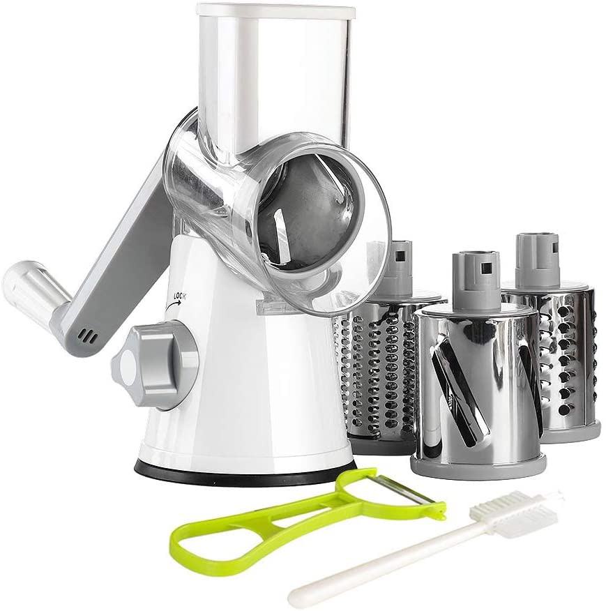 Ourokhome Rotary Cheese Grater Shredder - 3 Drum Blades Manual Vegetable Slicer...