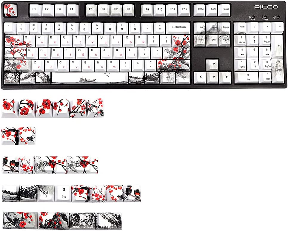 Max 66% OFF Unknows 128 Keys Cherry Profile Keycap S gift Theme Plum Blossom Dye