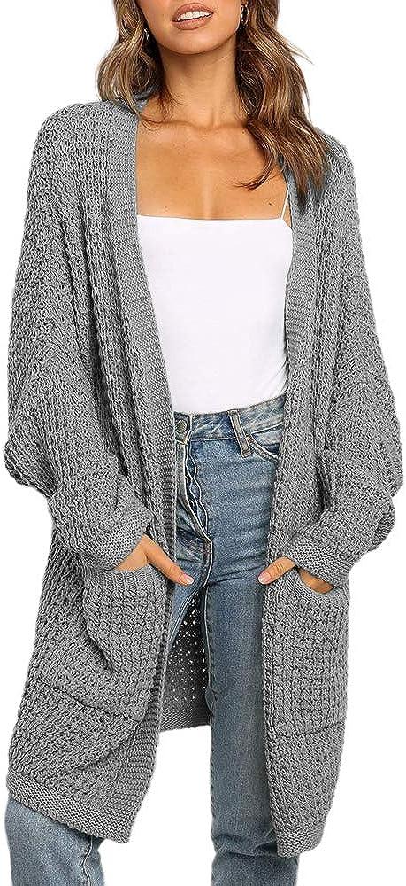 Liadon Womens Kimono Cardigan Sweaters with Pockets Oversized Long Sleeve Fall Winter Tops