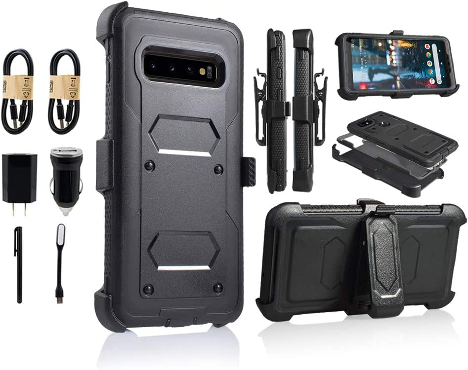 for Samsung Galaxy S10e | Dual-Layer Military Grade Phone Cover, Built-in [Screen Protector] Full-Body Armor Case [Belt Clip Holster][Kickstand] (for Samsung Galaxy S10 E) [Value Bundle] (Black)
