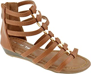 6a62b32332fb Lucky Top Avery 1K Little Girls Metal Bow Caged Peep Toe Gladiator Wedge  Sandals