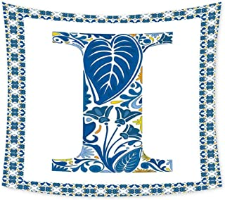 Luoiaax Letter I Wall Large Tapestry for Bedroom Flower Pattern Portuguese Azulejo Art Color Scheme Mosaic Frame Design Trippy Tapestry Wall Decor W84 x L70 Inch Blue Yellow Orange