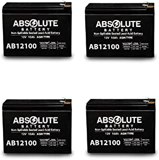 4 Pack AB12100-S 12V 10AH Replacement Battery for Fireworx FX-5RD, Fx-3RD