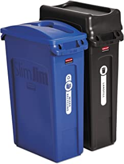 Rubbermaid Commercial Slim Jim Recycling Container, Blue, Black