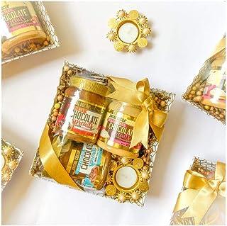 Jindal Cocoa Diwali Sweet Gift Hamper Hazelnut Chocolate Spread 320g, Almond White Chocolate Spread 320g, Peanut Butter Ch...