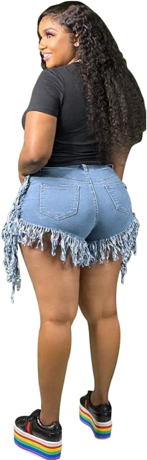 Women's High Rise Tassel Denim Short Washed Frayed Sexy Jeans Shorts Irregular Split Jean Short Skirt with Pockets (Light Blue,X-Large)