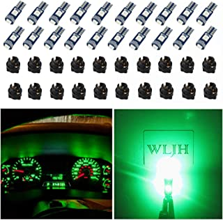 WLJH 74 Led Bulb Dash Lights Super Bright T5 2721 37 86 286 Wedge PC74 Twist Socket Automotive Instrument Panel Gauge Light Kits Cluster Shift Indicator Interior Bulbs Green Pack of 20