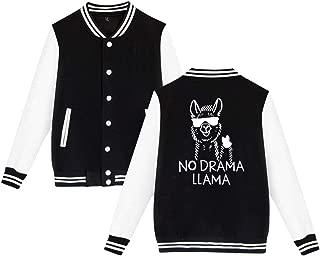 Unisex Baseball Jacket Uniform No Drama Llama Boys Girls Hoodie Sweatshirt Sweater Tee (Back Print)