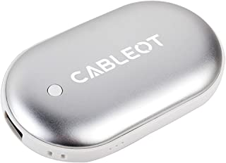 CABLEOT Power Bank Hand Warmer, Rechargeable Double-Sided Hand Warmer 5200mAH Power Bank Portable Pocket Hand Heater USB Mobile External Back up Battery Charger